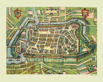 Lüneburg, Germany in 1598 - Bird's Eye View, Panorama, Vintage Map, Antique, Reproduction, Framable, Fine Art, wall art