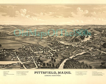 Pittsfield, Maine in 1889 - Bird's Eye View, Aerial, Panoryistorama, Vintage, Antique, Reproduction, Giclée, Fine Art, Wall Map, H