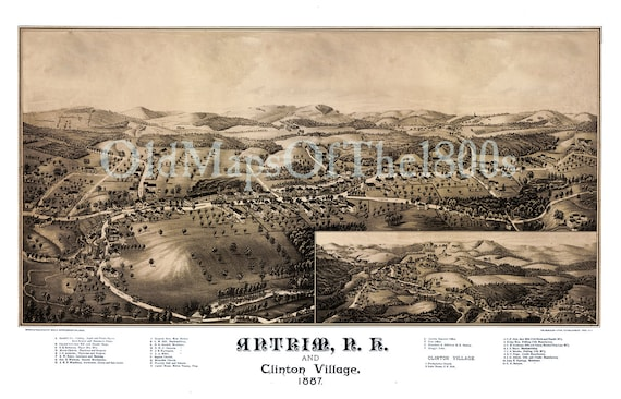 1884 Franklin Falls New Hampshire Vintage Old Panoramic City Map 18x24