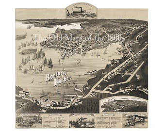 Boothbay Harbor, Maine in 1885 - Bird's Eye View Map, Aerial, Panorama, Vintage, Antique, Reproduction, Giclée, Fine Art, Wall Art, History