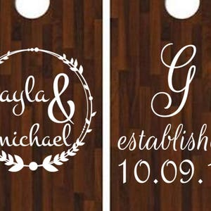Custom Cornhole Wedding Decals Set of 2 Vinyl Decals FREE SHIPPING Personalized Backyard Party Custom Husband Wife Outdoor Games Bar B Q