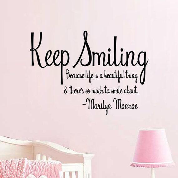 Keep Smiling Decal Marilyn Monroe Quote Wall Vinyl Sticker Etsy