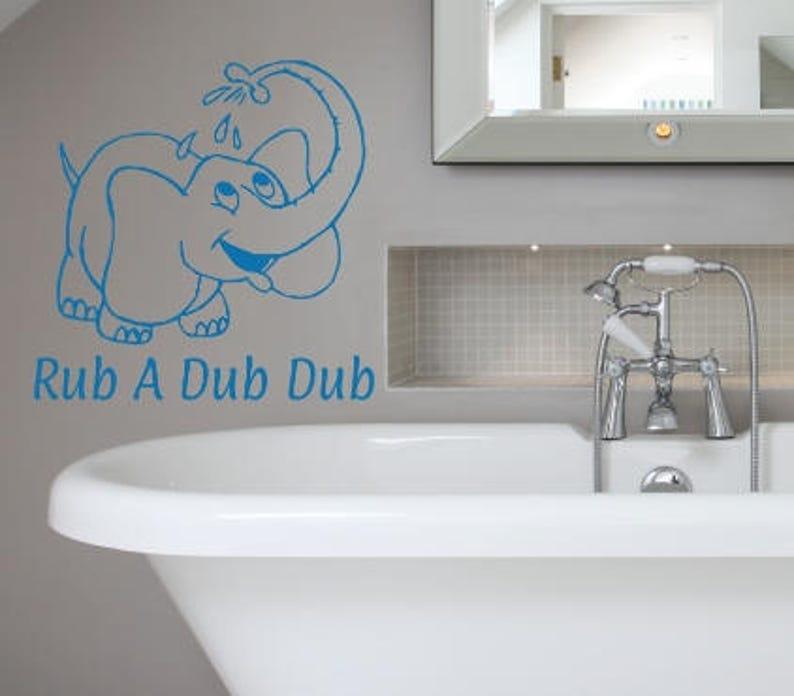rub a dub dub decal w elephant vinyl wall sticker bathroom | etsy