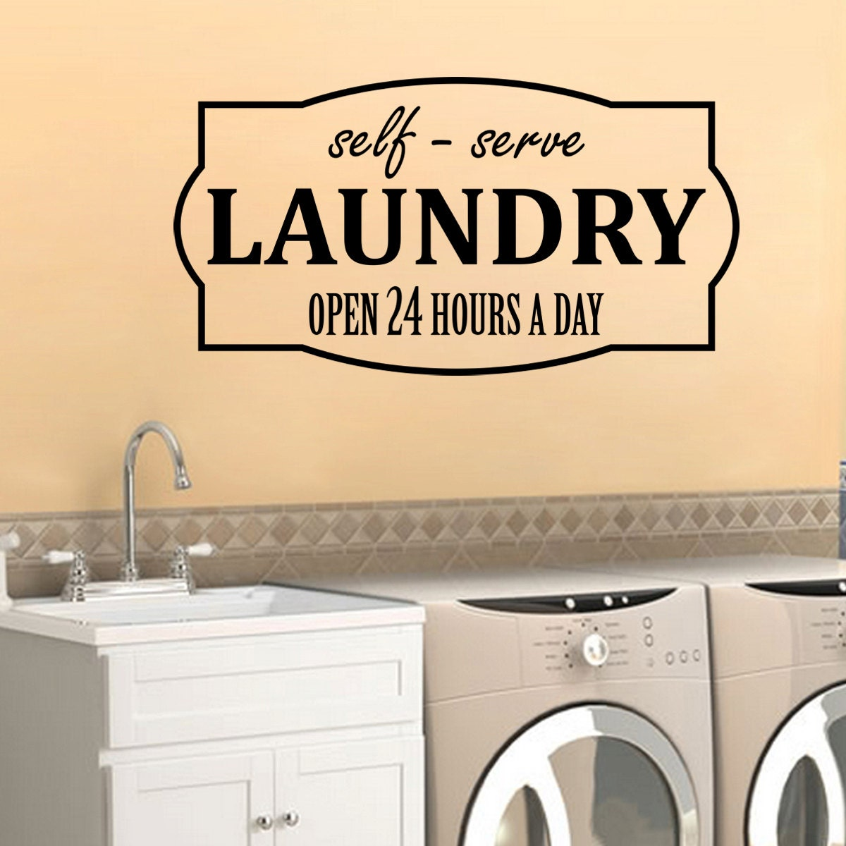 Laundry Decal Self-Serve Open 24 Hours Wall Vinyl Sticker | Etsy