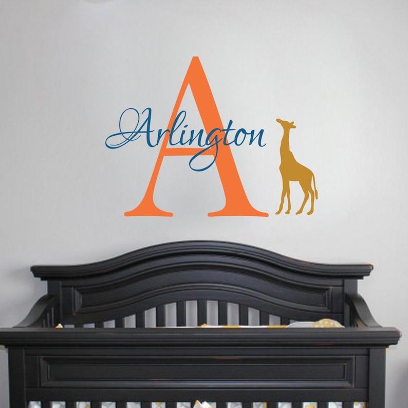 Giraffe Monogram Decal Wall Vinyl Sticker Script Initial Baby Boy Nursery Decor Custom Personalized Art Baby Shower Gift Jungle