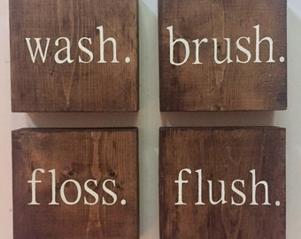 Bathroom Decor | Wash Brush Floss Flush | Bathroom Wall Decor | Funny Bathroom Sign | Bathroom Decor | Rustic Bathroom | Bathroom Wall Art |
