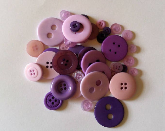 50 Light Purple  and Dark Purple and Pink Mixed Button Sizes Sewing Buttons #DSP-00026