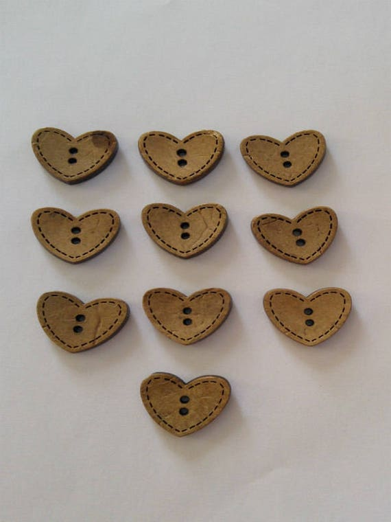 10 x Heart Shaped Baby Buttons 2 Hole Buttons approx 15mm Clear Heart Buttons