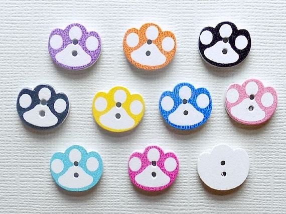 """Pawprint Dog Coats Pet Clothing Kids Crafts 10 Brown Dog Paw Buttons 15mm 5//8/"""""""