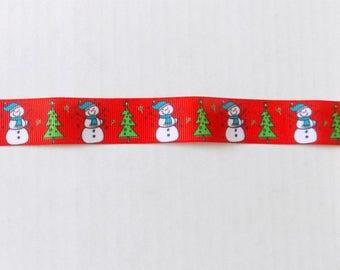 Red Snowman  Ribbon - Christmas Ribbon - 1 Yard