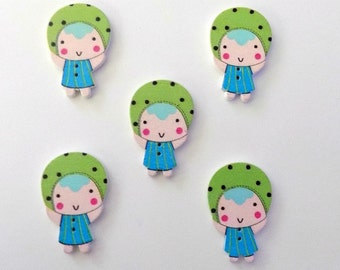 5 Wooden Doll Buttons -  #SB - 00133