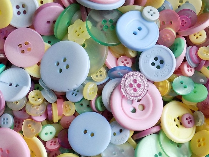 50 Pastel Buttons  Mixed Button Sizes  Sewing Buttons  image 0