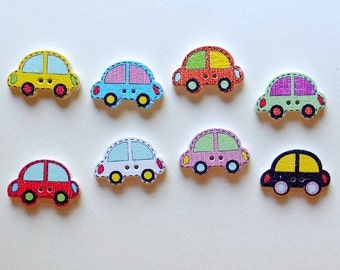 8 Colorful Car Sewing Buttons - #SB-00048