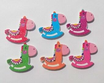 6 Wooden Horse Buttons - #SB-00060