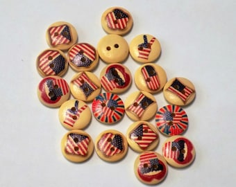 20 Wooden American Flag Buttons -  #WS-00049