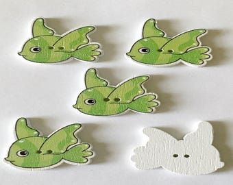 5 Fish  Buttons - #SB-00305