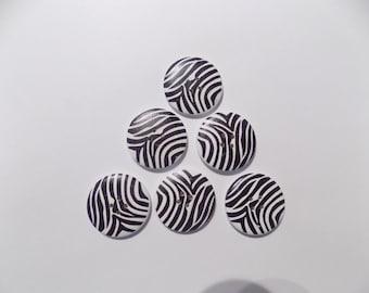 6 Zebra Wooden Buttons - #WS-00012
