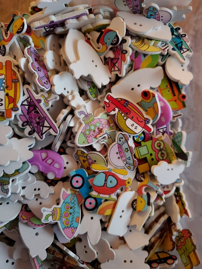 Cars 50 Mixed Vehicles Sewing Buttons Trucks-Airplanes Trains Buttons Colorful Buttons Craft Bus #LMSB-00275 Mixed Button
