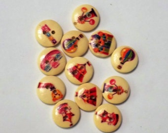 10 Wooden Circus Buttons - #WS-00055