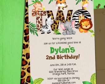 Jungle 2nd Birthday Party Invitation Template