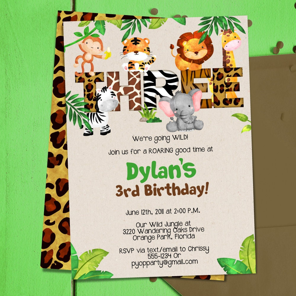 Jungle 3rd Birthday Party Invitation Template Animals