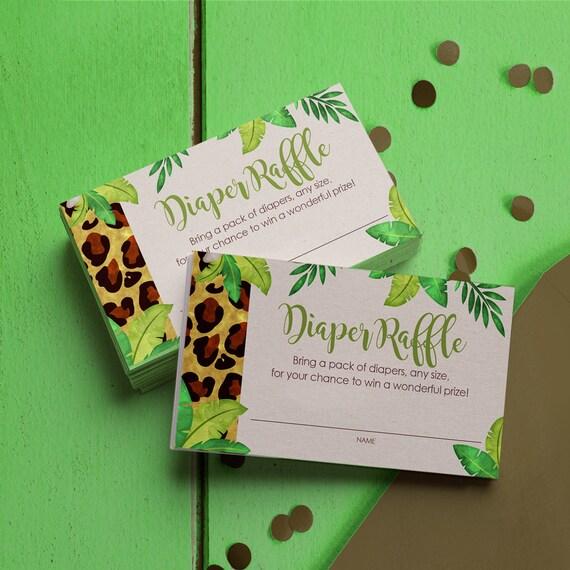 Jungle Baby Shower Insert Diaper Raffle Card Jungle Diaper Raffle Insert Baby Shower Invitation Insert Pdf Template Printable