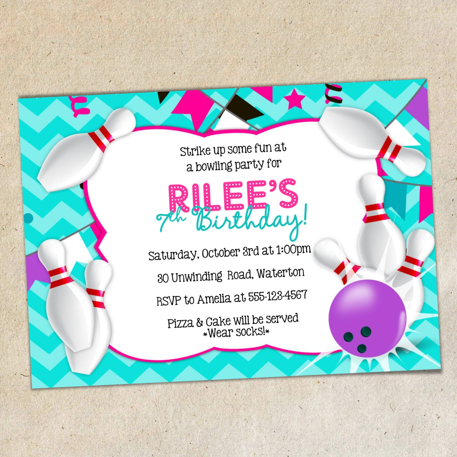 GIRLS Bowling Party Invitation TEMPLATE Girly Chevron | Etsy