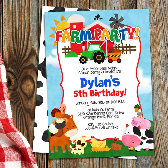 Farm Birthday Party Invitation Template Farm Animals Etsy