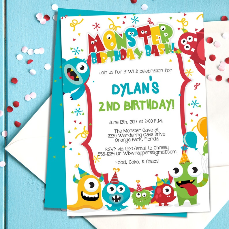 Monster Birthday Party Invitation TEMPLATE