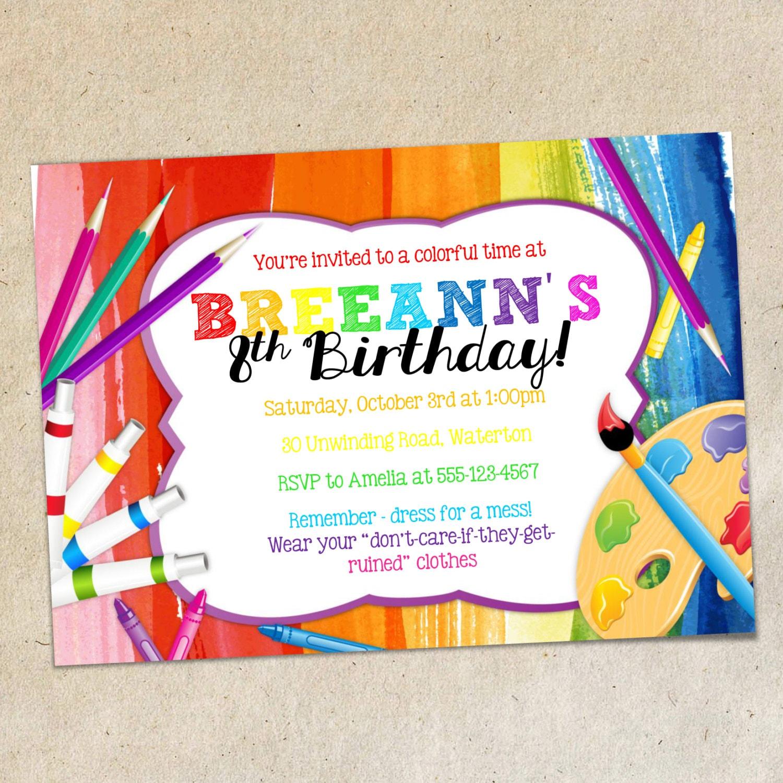 Arte fiesta invitación plantilla dibujo pintura colorida   Etsy