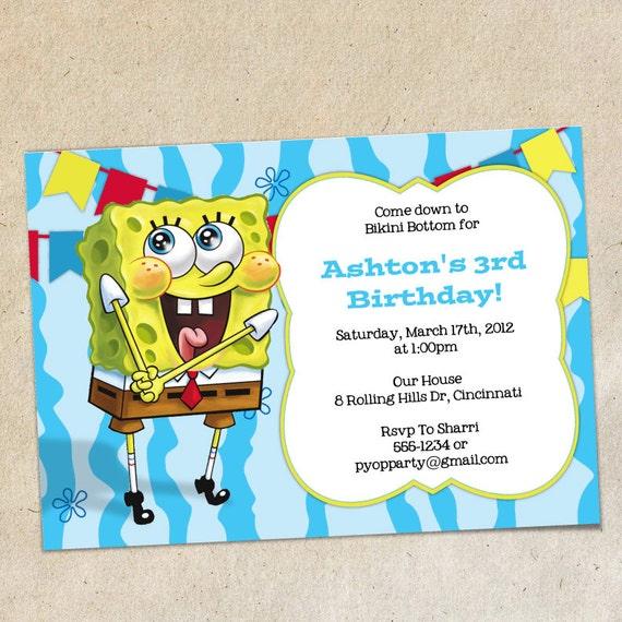 Spongebob Party Invitation Template Etsy