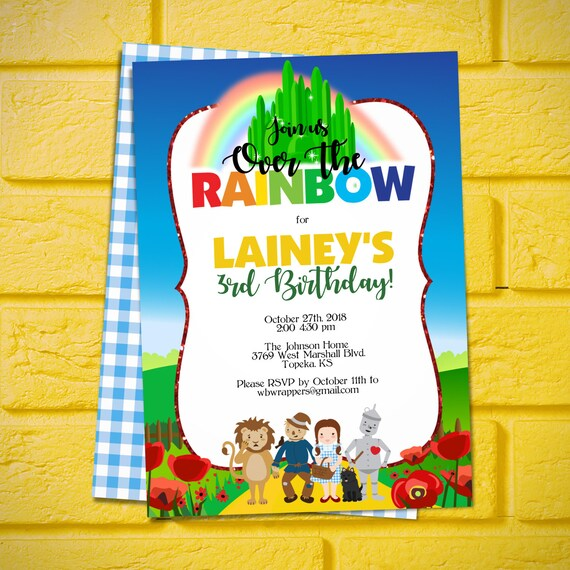 Wizard Of Oz Birthday Party Invitation TEMPLATE Over The