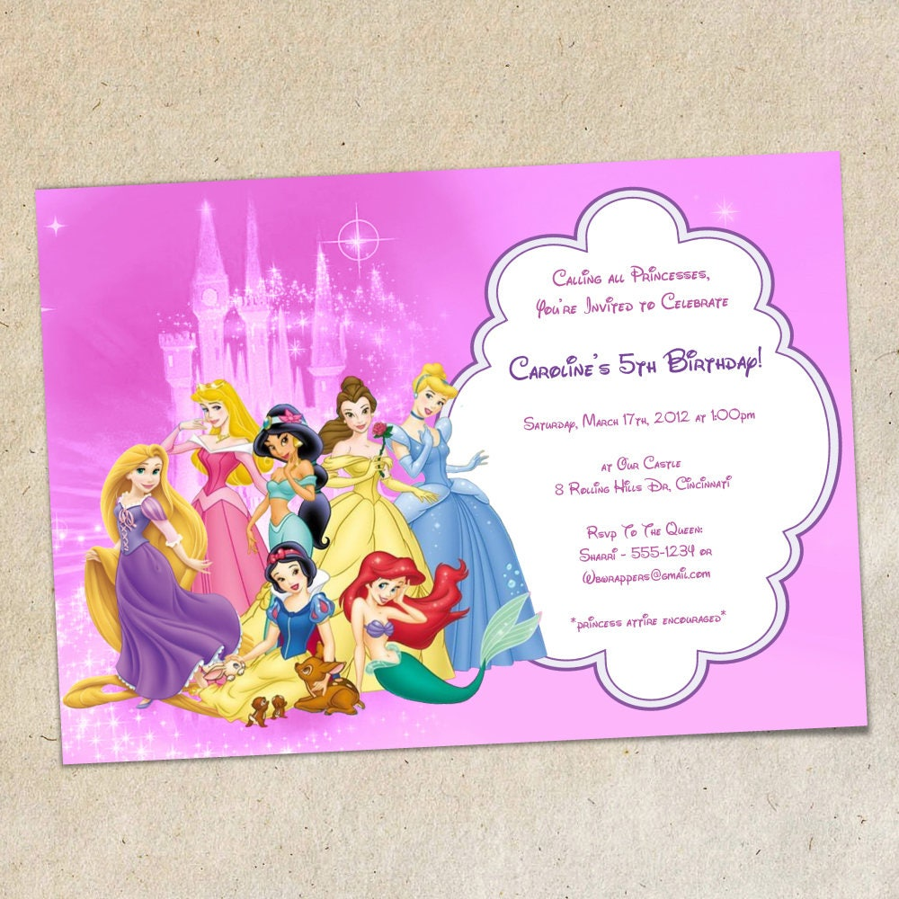 Pink Princesses Birthday Party Invitation Template