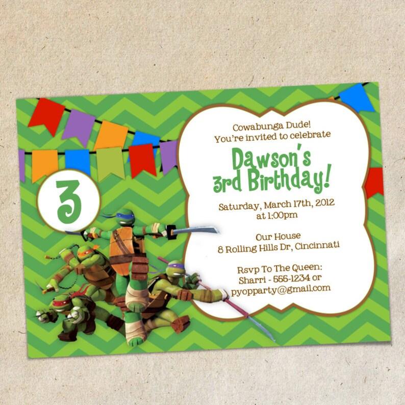 Teenage Mutant Ninja Turtles Invitation Template
