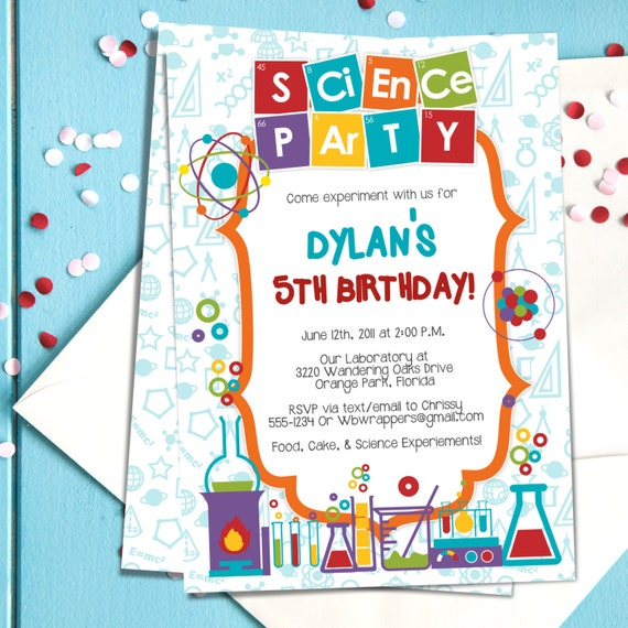 Coloful science themed party invitation template mad filmwisefo