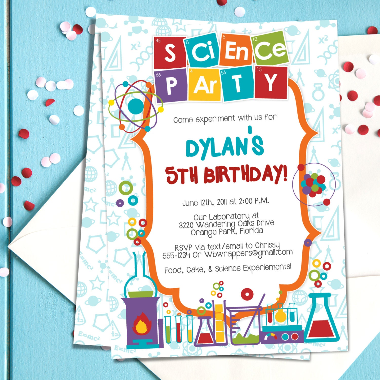 Coloful Science Themed Party Invitation TEMPLATE Mad