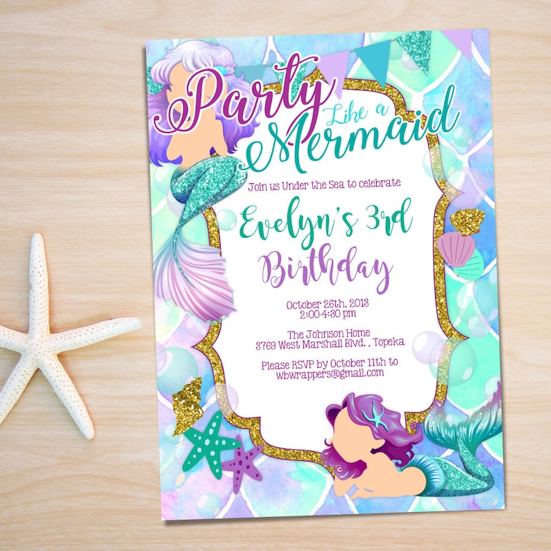 Mermaid Birthday Party Invitation TEMPLATE Under The Sea