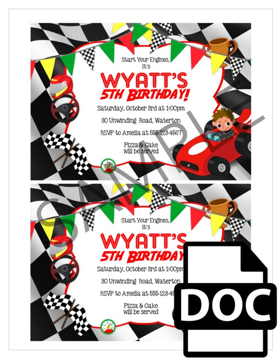 Race Car Party Invitation TEMPLATE Racing Themed Invite Red Yellow Green And Checkered