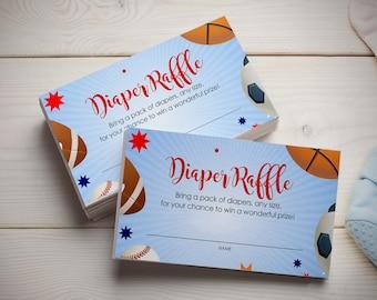 Sports Baby Shower Insert - Diaper Raffle Card - Sport Diaper Raffle Insert - Baby Shower Invitation Insert - PDF Template Printable