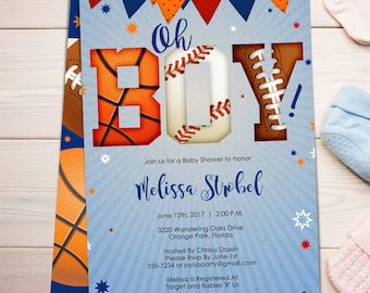 Sports Baby Shower Invitation   Sports Theme Invite   Sports Themed Baby Shower   Boy Baby Shower   PDF Template   Create today! - B012