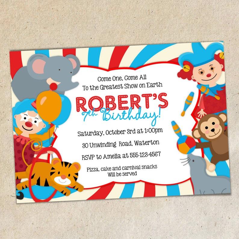 6ceeb25ccfdb0 Invitación fiesta de cumpleaños de circo plantilla circo tema
