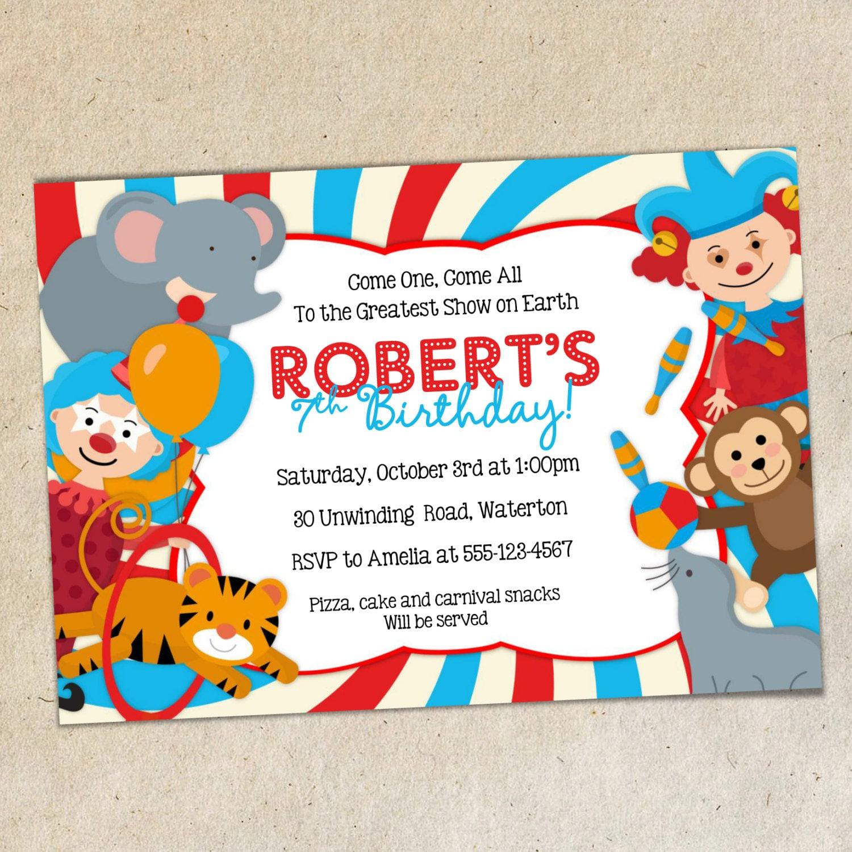 Invitación fiesta de cumpleaños de circo plantilla circo tema | Etsy