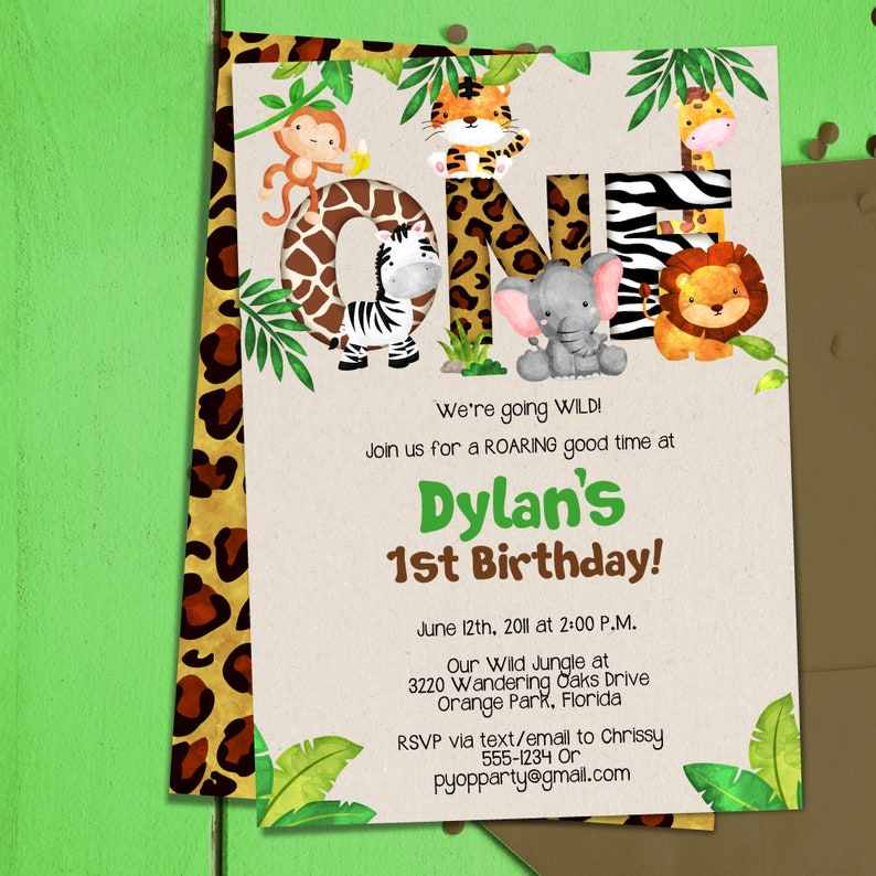 Jungle 1st Birthday Party Invitation Template Animals