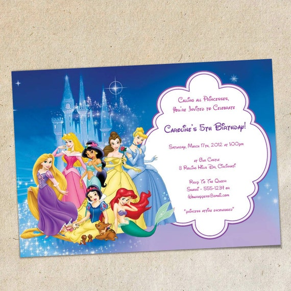 Disney Princesses Party Invitation Template Instant