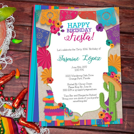 birthday fiesta mexican style party invitation template etsy