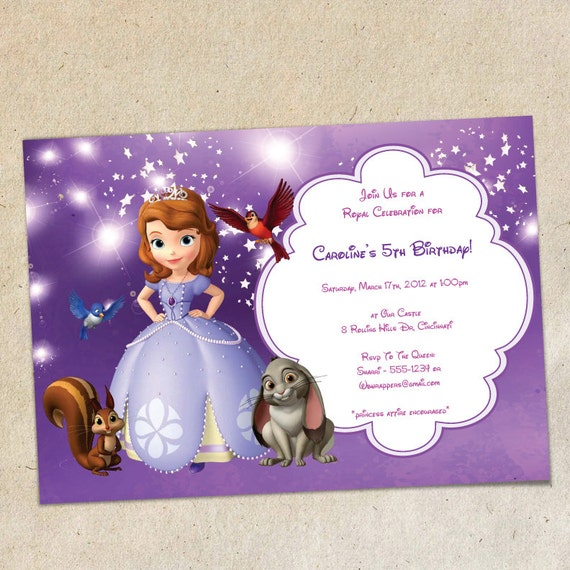 Items Similar To Sofia The First Party Invitation Template Instant