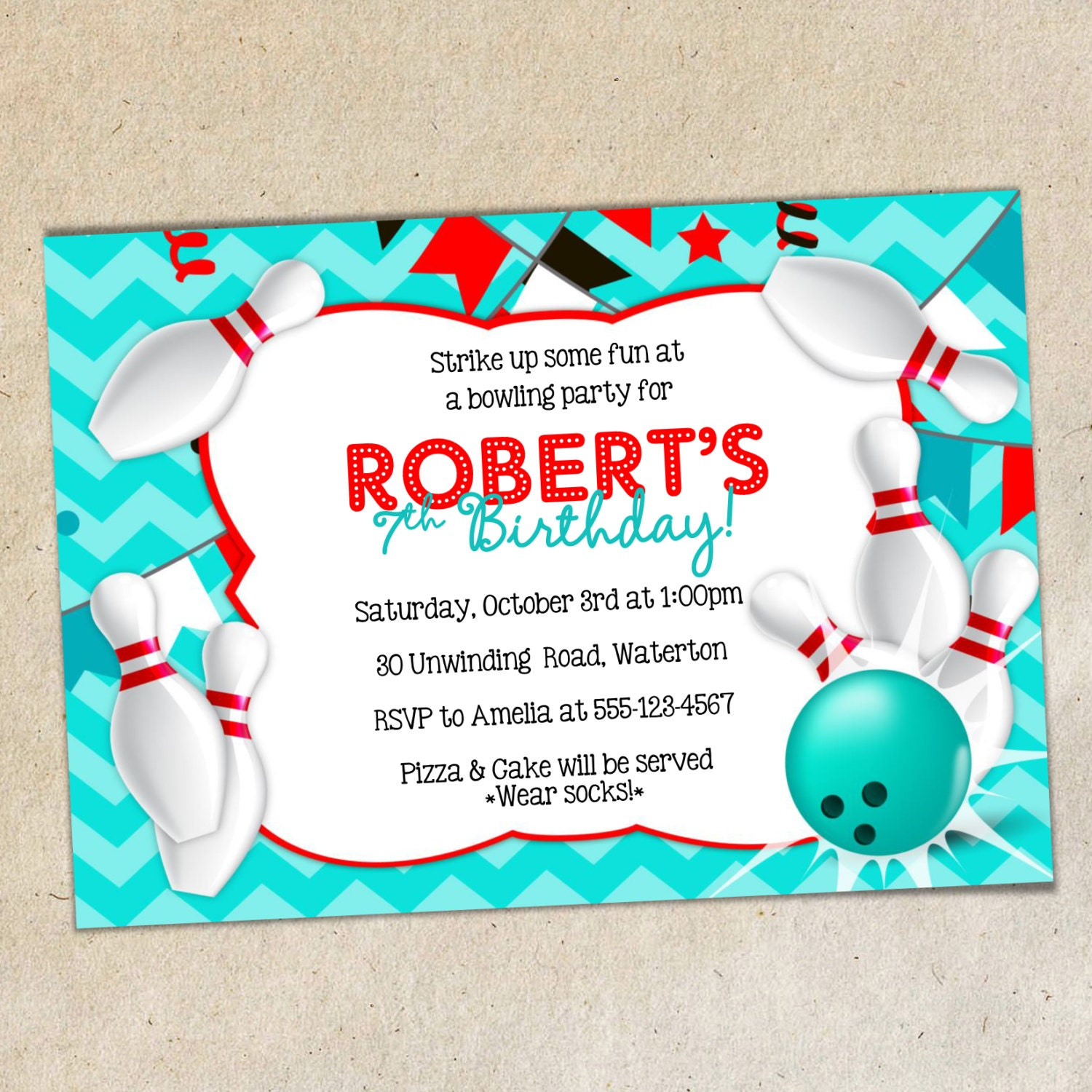 Bowling Party Invitation Template Chevron Background Bowling Etsy