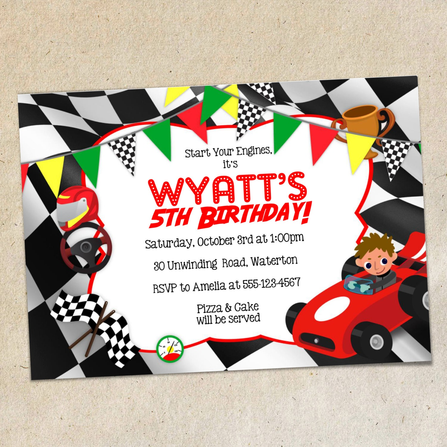 Race Car Party Invitation TEMPLATE Racing Themed Invite Red | Etsy