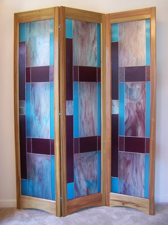 Stained Glass Room Divider 3 Panel Screen Bordeaux Model By Etsy