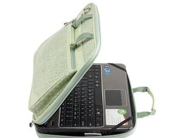 Crocodile 13.3 Inch - 14 Inch Laptop Bag  / Macbook Air 13 Inch Bag /Laptop Shoulder Bag / Padded Laptop Bag  - Lily Green